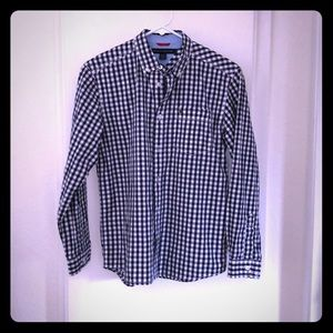 Tommy Hilfiger/ Navy plaid dress shirt /Boys 12-14